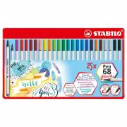 STABILO Pen 68 Brush Metalen Etui, 25st.